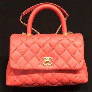 a807b2cb8524 CHANEL · CHANEL Flap Bag with Top Handle, Coral Pink ...